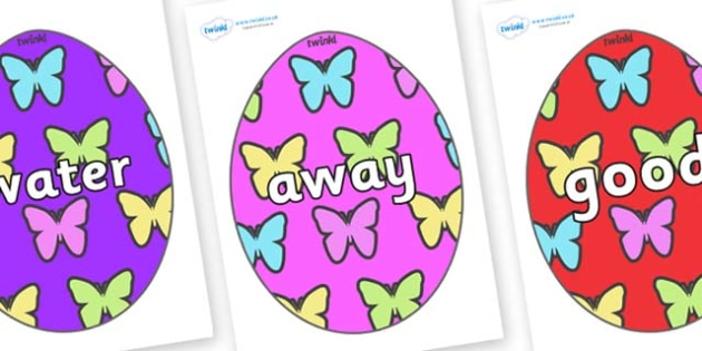 Next 200 Common Words on Easter Eggs (Butterflies) - Next 200 Common Words on  - DfES Letters and Sounds, Letters and Sounds, Letters and sounds words, Common words, 200 common words