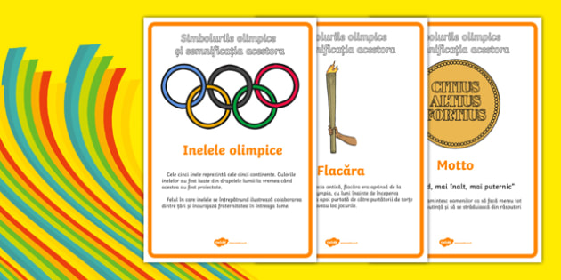 The Olympics Symbols and Their Meanings Display Posters Romanian - romanian, symbols, Olympics, Olympic Games, sports, Olympic, London, what do olympic symbols mean, meaning, 2012, activity, Olympic torch, medal, Olympic Rings, mascots, flame, compet