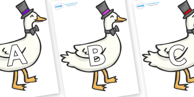 A-Z Alphabet on Goose - A-Z, A4, display, Alphabet frieze, Display letters, Letter posters, A-Z letters, Alphabet flashcards