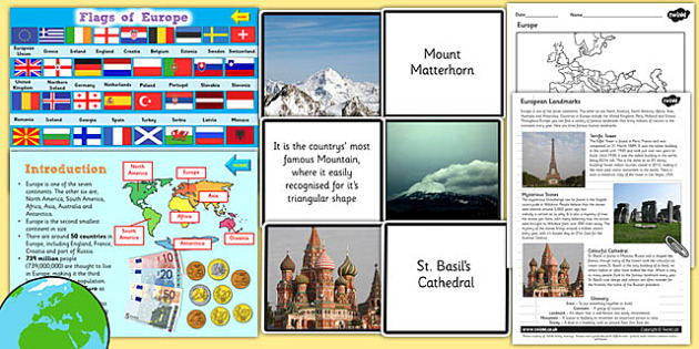 Europe Geography Countries Landmarks and Natural Feature Teaching