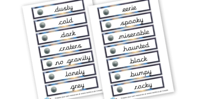 Moon Word Cards - Space Literacy Primary Resources, Space, planets, Sun, moon, star