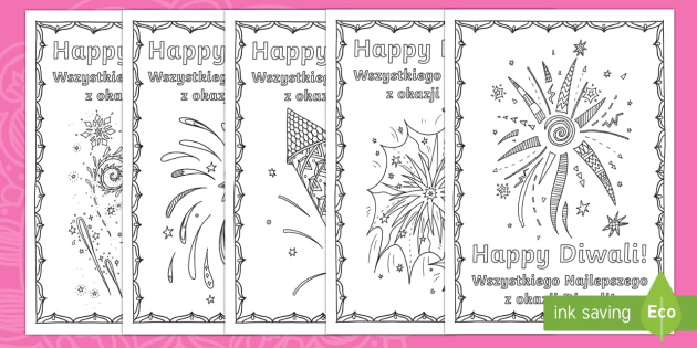 Diwali fireworks themed mindfulness colouring pages English/Polish