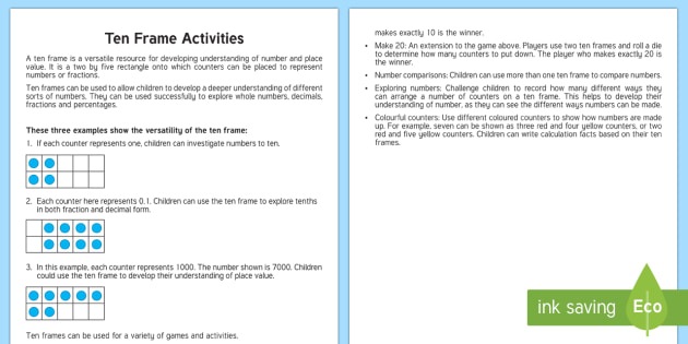 Ten Frame Teaching Ideas - Ten frame, place value, number bonds, decimals, fractions, percentages, number.