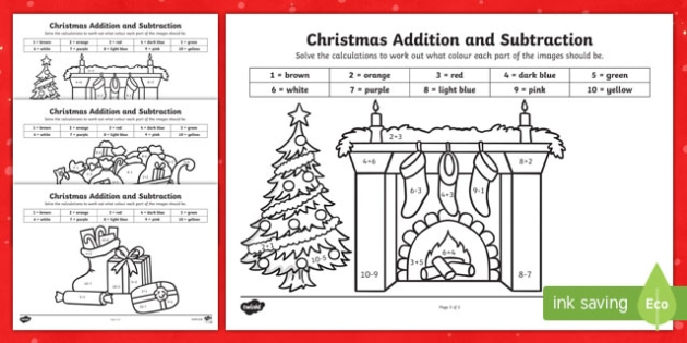 Christmas Addition and Subtraction to 10 Colour by Number