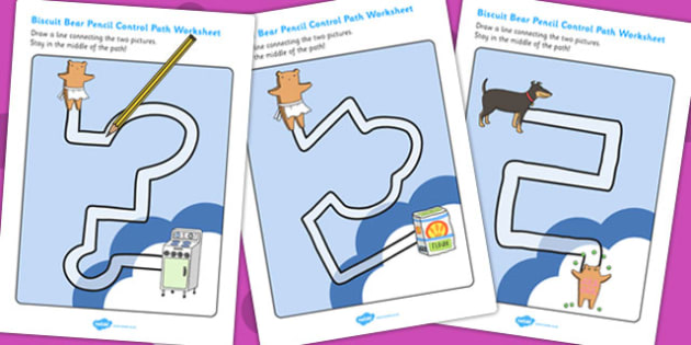 Pencil Control Path Worksheets to Support Teaching on Biscuit Bear - Biscuit, Bear, Path