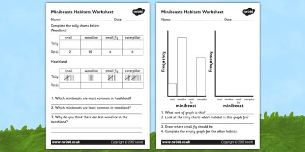 Minibeast Habitat Graphs Worksheet - habitats worksheets, habitats, minibeasts, minibeast habitats, insect habitats, interpreting graphs, bar chart, ks2
