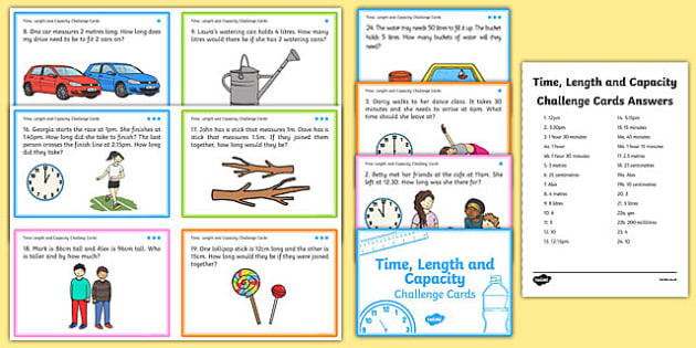 Time Length And Capacity Problem Solving Challenge Cards - cards