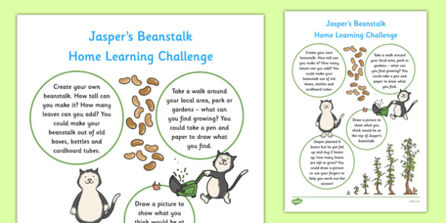 EYFS Home Learning Challenge Sheet Nursery FS1 to Support Teaching on Jasper's Beanstalk - EYFS planning, Early years activities, homework activities, growing
