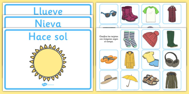 Weather Clothes Sorting Activity Spanish - spanish, clothes sorting activity, weather and the seasons, clothes, weather, seasons, clothes sorting, weather conditions