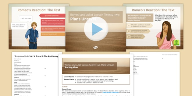 Romeo and Juliet Lesson Pack 22: Plans Unravel