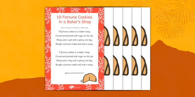 10 Fortune Cookies in a Baker's Shop Song Poster - 10, fortune cookies, bakers shop, song, Chinese new year