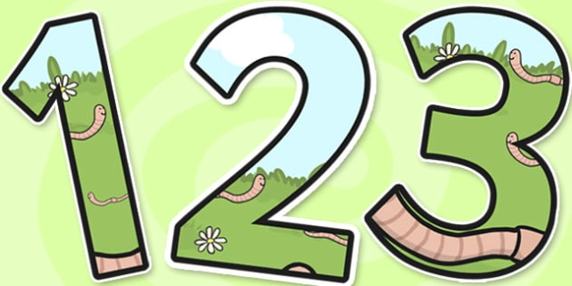 Worm Themed Display Numbers - superworm, display numbers