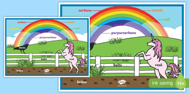 Rainbow Colours Latvian A2 Display Poster