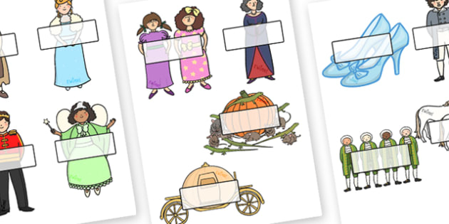 Editable Self Registration Labels (Cinderella) - Self registration, register, Cinderlla, traditional tale, editable, labels, registration, child name label, printable labels, tale, fairy tale, Pince Charming, Ugly Sisters, Step Godmother, Dress, Midn