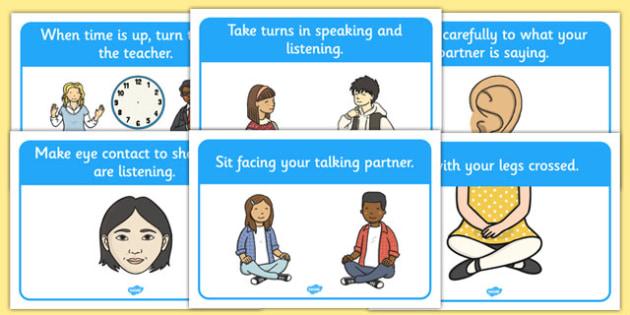 Talking Partner Display Posters - Good sitting, talking partners, partner, listen, behaviour management, SEN, good sitting, crossed legs, folder arms, hands up, quiet, good listening, good looking, lips closed, listening, brain box