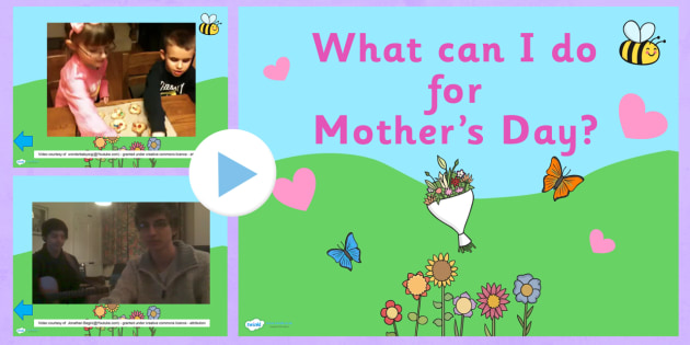 What can I do for Mother's Day?' Video PowerPoint - mother's day, mothers day, mother's day powerpoint, mother's day ideas powerpoint, videos