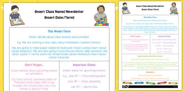 EYFS Editable Newsletter Template - eyfs, editable, newsletter