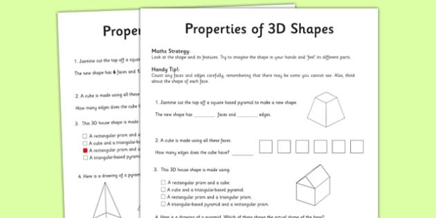 Year 3 Properties of Shapes Activity Sheet - worksheet, test skills, NAPLAN, equations, number sentences, problem solving, reasoning