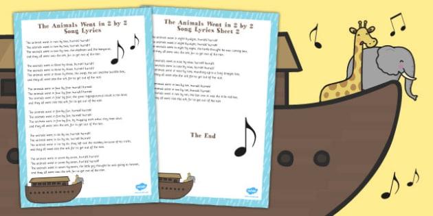 The Animals Went in 2 by 2 Noahs Ark Song Lyric Sheet - noah, ark