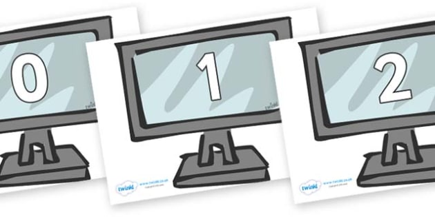 Numbers 0-50 on Monitors - 0-50, foundation stage numeracy, Number recognition, Number flashcards, counting, number frieze, Display numbers, number posters