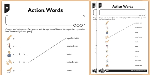 French Action Words Activity Sheet - french, activity, words, worksheet