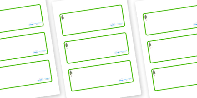 Pine Tree Themed Editable Drawer-Peg-Name Labels (Blank) - Themed Classroom Label Templates, Resource Labels, Name Labels, Editable Labels, Drawer Labels, Coat Peg Labels, Peg Label, KS1 Labels, Foundation Labels, Foundation Stage Labels, Teaching La
