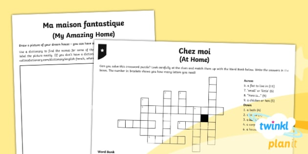 PlanIt - Year 5 French - Family and Friends Home Learning Tasks - french, languages, puzzle, crossword, game, clue, home, house, fantasy, model, dream,French