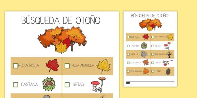 Ficha   Búsqueda de otoño Spanish-Spanish