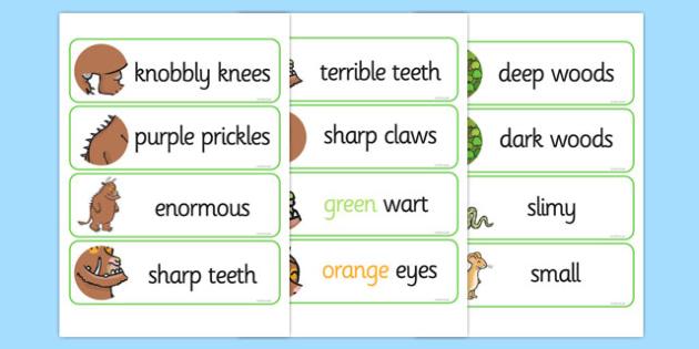 The Gruffalo Description Words Display - gruffalo, description, word
