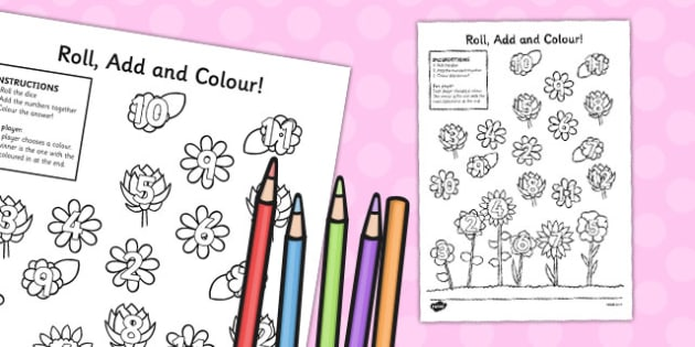 Flower Roll And Colour Worksheet - flower, colour, roll, sheet