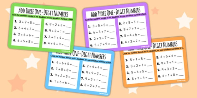 Add Three One Digit Numbers Choose Strategy KS1 Maths Challenge