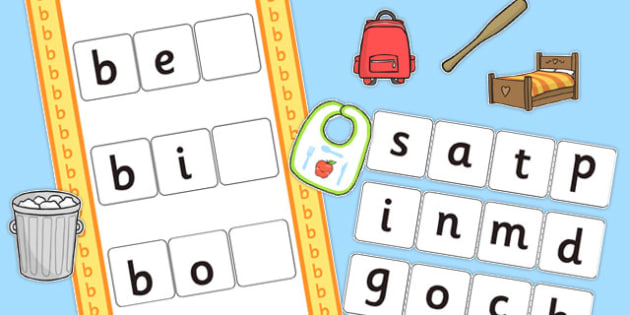CVC b Word Activity Including Phase 2 Letters and Sounds - phases
