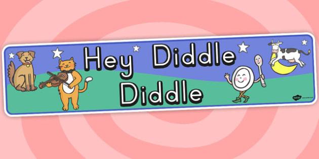Hey Diddle Diddle Display Banner - nursery rhyme, banner, display