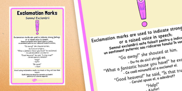 Exclamation Marks Punctuation Poster Romanian Translation - romanian, exclamation marks, punctuation
