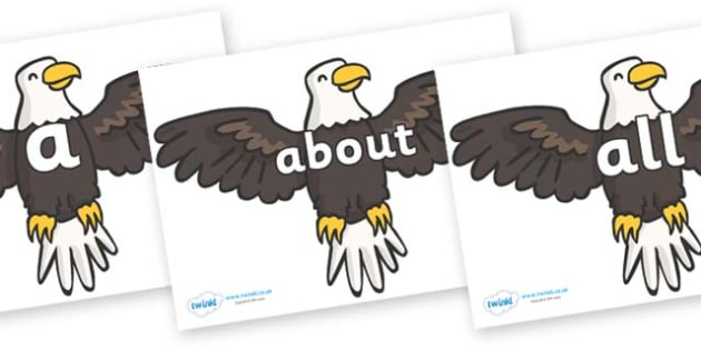 100 High Frequency Words on Eagles - High frequency words, hfw, DfES Letters and Sounds, Letters and Sounds, display words