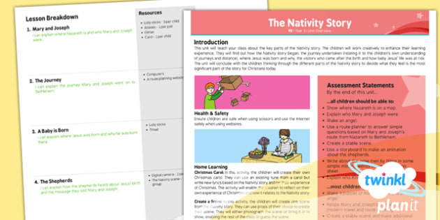 PlanIt - RE Year 3 - The Nativity Story Planning Overview - planit, re, religious education, year 3, the nativity story, planning overview