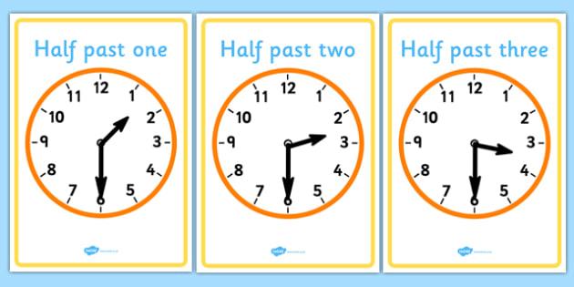 Analogue Clocks - Half Past - education, home school, child development, children activities, free, kids, math games, worksheets, number work