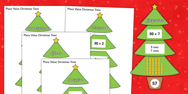 Place Value Christmas Trees - place value, christmas tree, christmas, tree, place, value