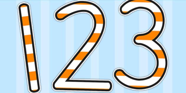 Stripey Orange Display Numbers - numbers, display numbers, number