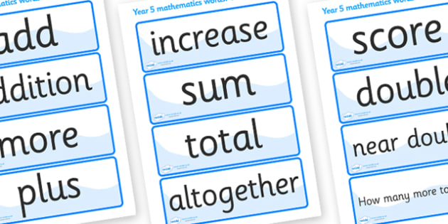 Calculation Vocabulary Cards (Year 5) - calculations, vocabulary, vocab, calculation, calculating, year 5, addition, add, plus, minus, subract, subracting, taking away, sum, multiply, multiplication, dividing, division