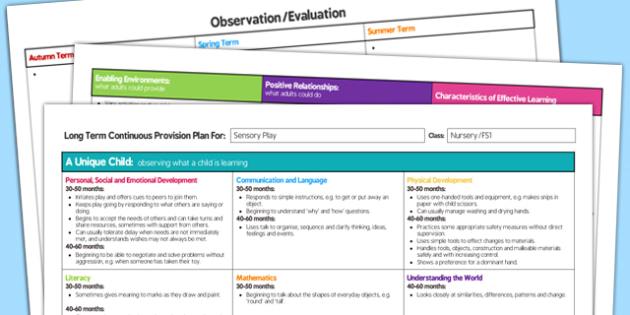 Sensory Play Editable Continuous Provision Plan Nursery FS1