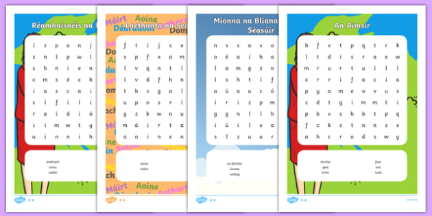 Irish Aimsir Pack Word Search - irish, gaeilge, aimsir, word search, activity