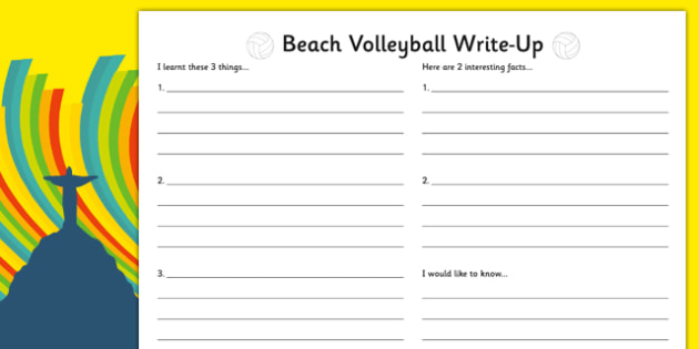 Rio 2016 Olympics Beach Volleyball Write Up Worksheet - rio 2016, rio olympics, 2016 olympics, beach volleyball, write up worksheet