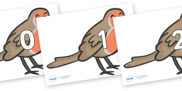 Numbers 0-31 on Robins - 0-31, foundation stage numeracy, Number recognition, Number flashcards, counting, number frieze, Display numbers, number posters