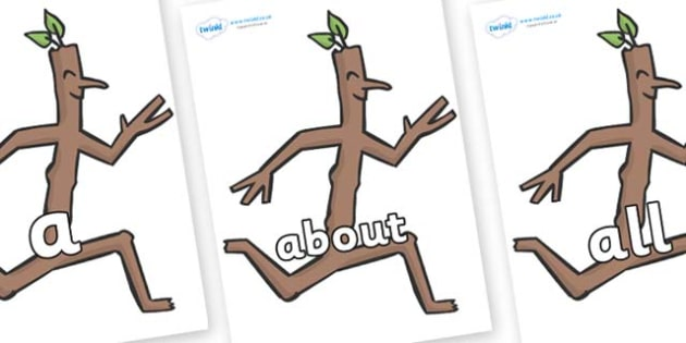 100 High Frequency Words on Stick Man to Support Teaching on Stick Man - High frequency words, hfw, DfES Letters and Sounds, Letters and Sounds, display words