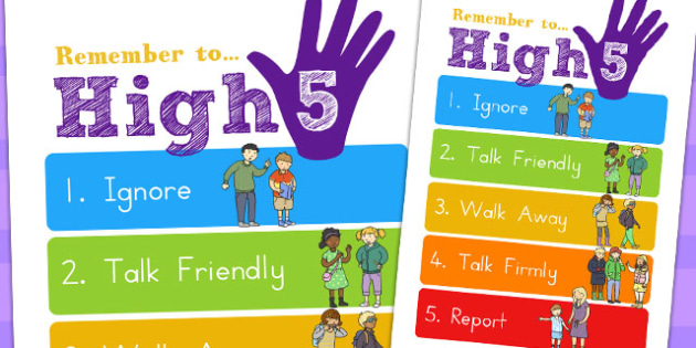 High Five How To Deal with Bullying Large Display Poster A2 -