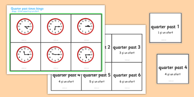 Quarter Past Times Bingo Romanian Translation - EAL, translated, bilingual,  time, analogue, clock