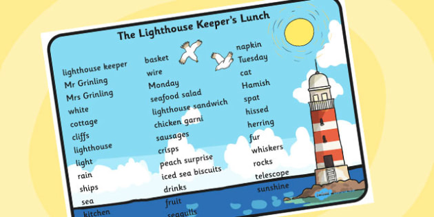 Word Mat (Text) to Support Teaching on The Lighthouse Keeper's Lunch - The Lightkeeper's Lunch, Ronda Armitage, Mr Grinling, Mrs Grinling, seagulls, seaside, lunch, Hamish, resources, sandwhich, story, story book, story book resources, story sequenci
