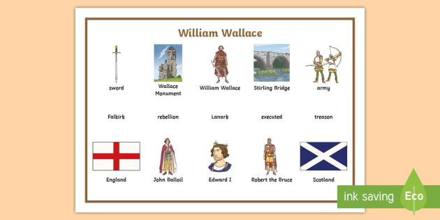 William Wallace Word Mat - CfE Scottish Significant Individuals, William Wallace, word mat, William Wallace vocabulary ,Scottis