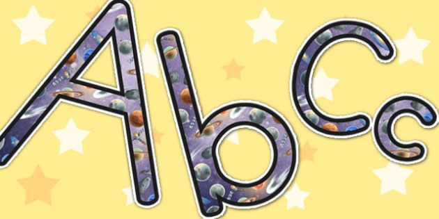 Space Themed A4 Display Lettering - letters, displays, visuals